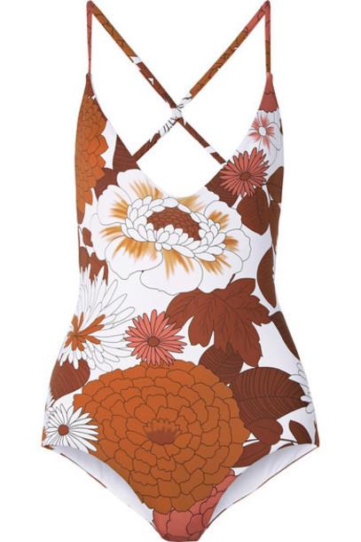 Dodo Bar Or - Floral-print Swimsuit - Camel