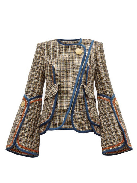 Peter Pilotto - Asymmetric Velvet Trim Tweed Jacket - Womens - Navy Multi