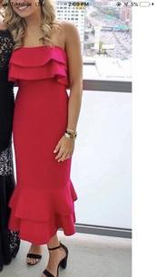 dress,hot pink ruffle hem tube dress