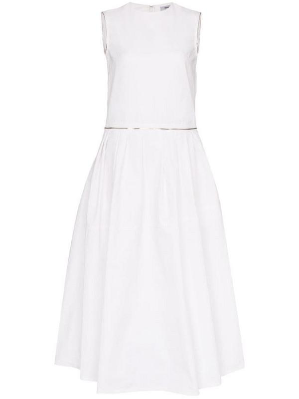 We11done zipped midi dress in white