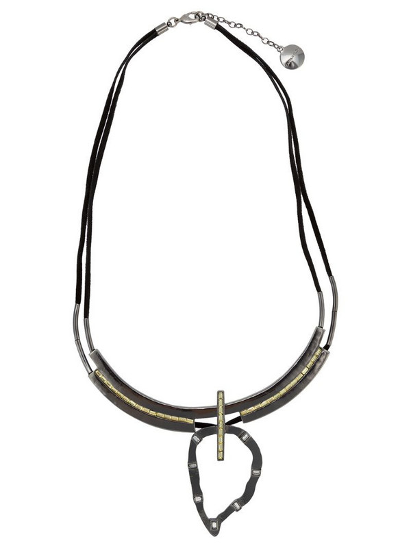 Camila Klein embellished suede necklace in metallic