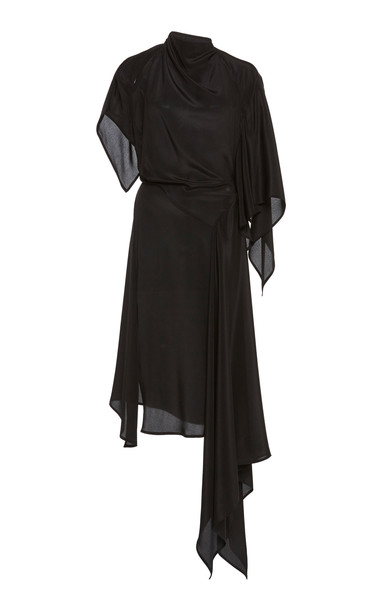 Petar Petrov Adora Asymmetric Silk Dress in black