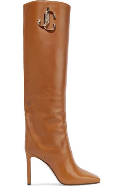 Jimmy Choo - Mahesa 100 Embellished Leather Knee Boots - Tan