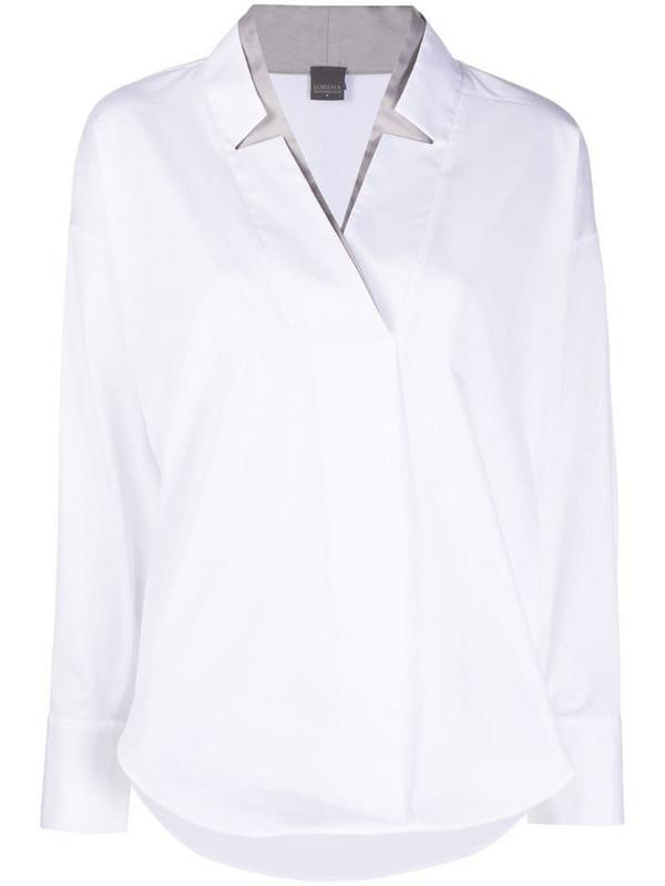 Lorena Antoniazzi v-neck long-sleeved shirt in white