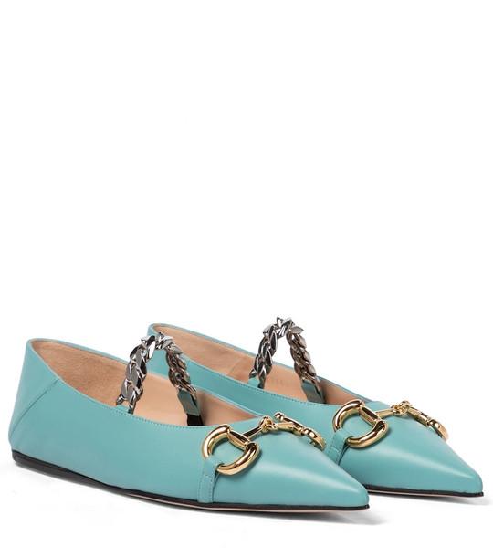 Gucci Horsebit leather ballet flats in blue