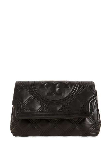TORY BURCH Fleming Quilted Leather Clutch in black