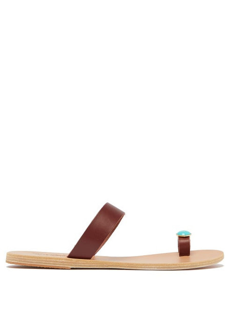 Ancient Greek Sandals - Thalia Turquoise-embellished Leather Sandals - Womens - Brown Multi