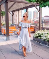 sunglasses,shoes,dress,off the shoulder,off the shoulder dress,maxi dress,long dress,sandals,sandal heels