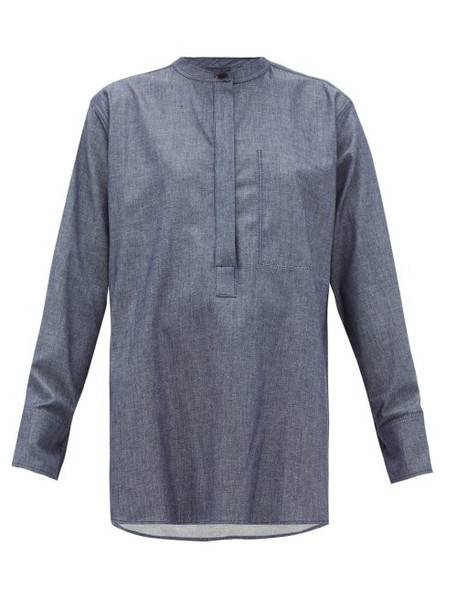 Joseph - Henry Dropped Shoulder Chambray Blouse - Womens - Dark Blue