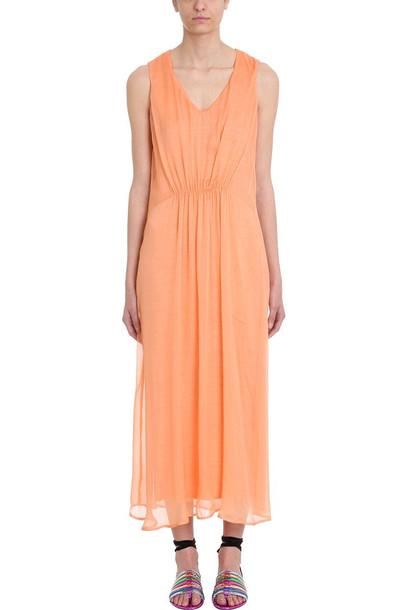 120 Lino 120% Lino Orange Draped Cotton And Linen Dress
