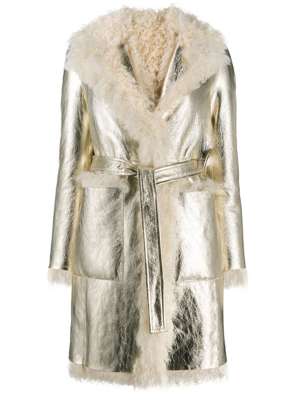 Blancha shearling belted coat in white