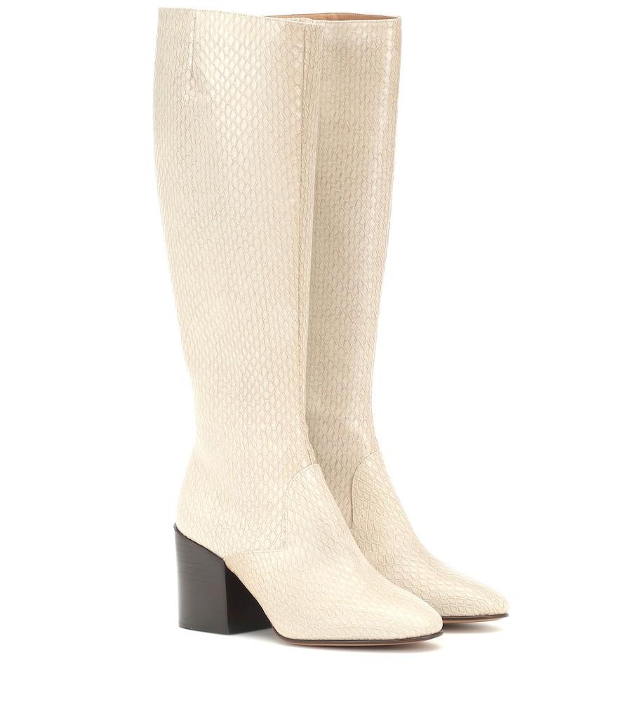 Dries Van Noten Snake-effect leather boots in beige