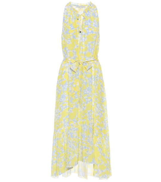 Heidi Klein Cancun floral silk midi dress in yellow