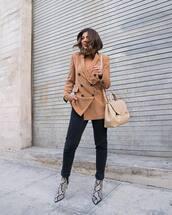 jacket,blazer,double breasted,zara,ankle boots,snake print,black skinny jeans,shoulder bag,sweater