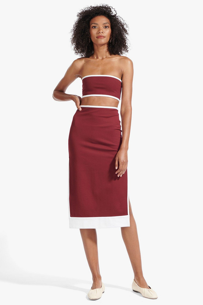 Staud DESMOND SKIRT | TAWNY PORT WHITE