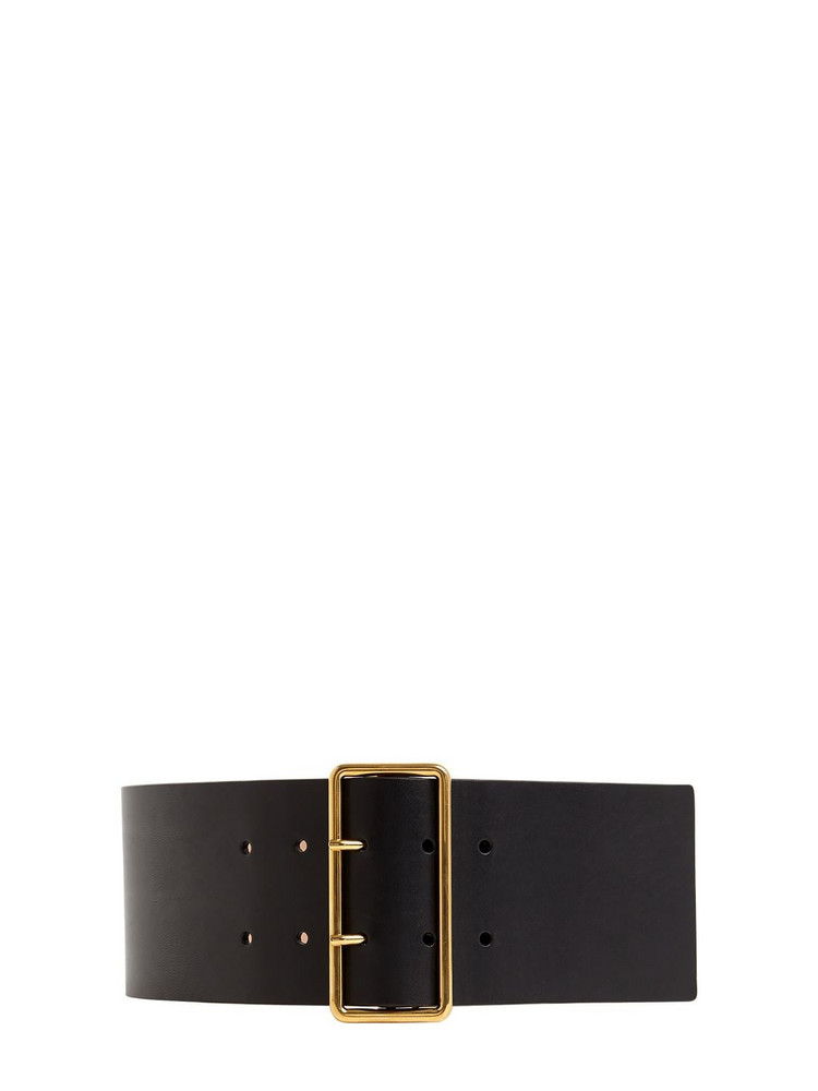 ALEXANDER MCQUEEN 85mm High Waist Leather Belt in black