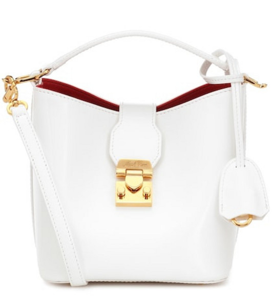Mark Cross Murphy Mini leather bucket bag in white