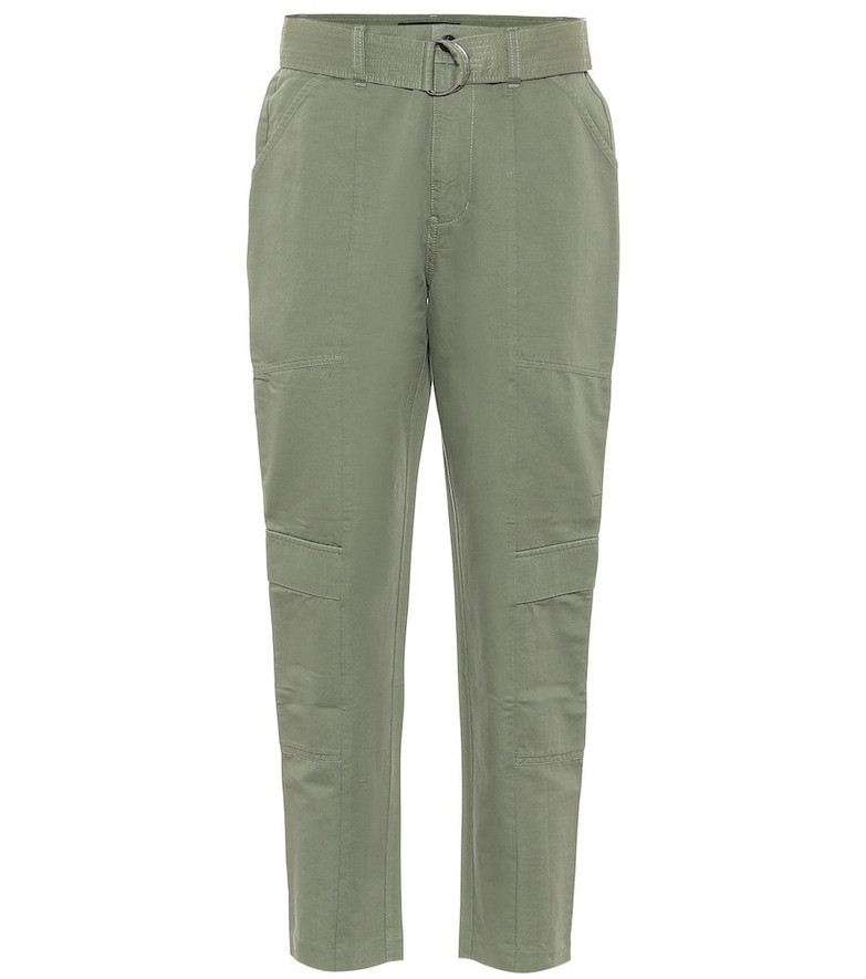 J Brand Athena high-rise stretch-cotton pants in green