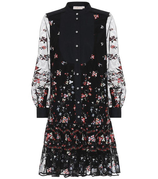 Tory Burch Embroidered tulle shirt dress in black
