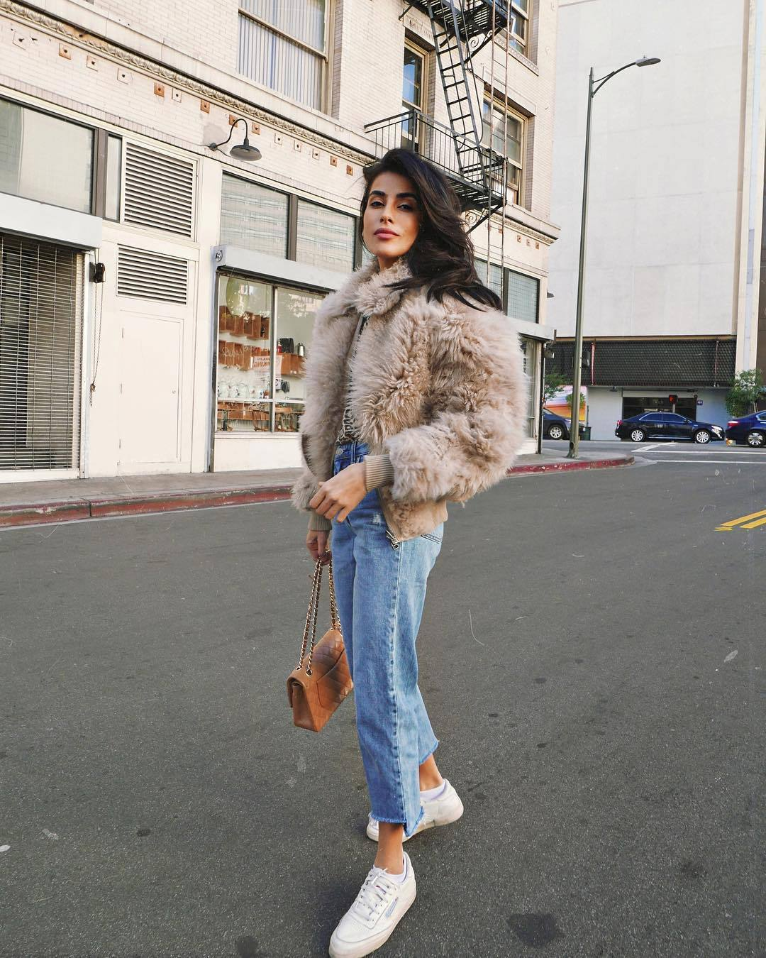 jacket bomber jacket faux fur jacket white sneakers cropped jeans straight jeans brown bag