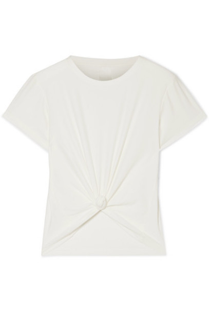 We/Me - The Foundation Cropped Knotted Stretch-jersey T-shirt - White