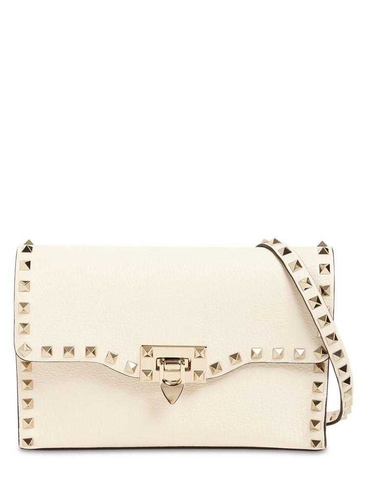 VALENTINO GARAVANI Small Rockstud Grained Leather Bag in ivory
