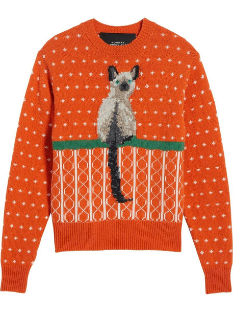 Marc Jacobs cat jacquard wool jumper in orange