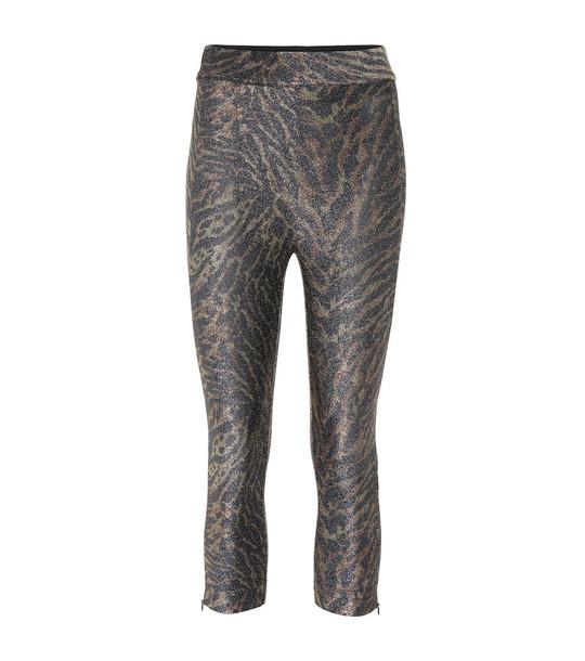 Ganni Tiger-print lurex jersey leggings in black