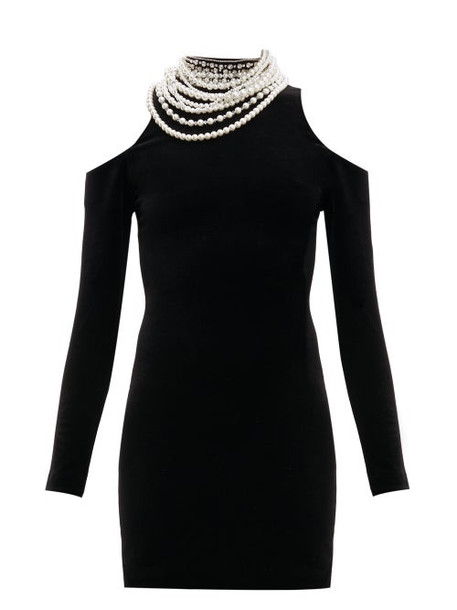 Balmain - Pearl Cut Out Shoulder Velvet Mini Dress - Womens - Black