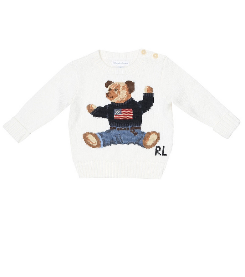 Polo Ralph Lauren Kids Baby Polo Bear intarsia cotton sweater in white