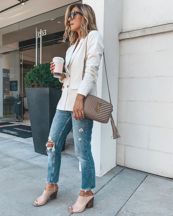 jacket white blazer double breasted sandal heels ripped jeans cropped jeans ysl bag