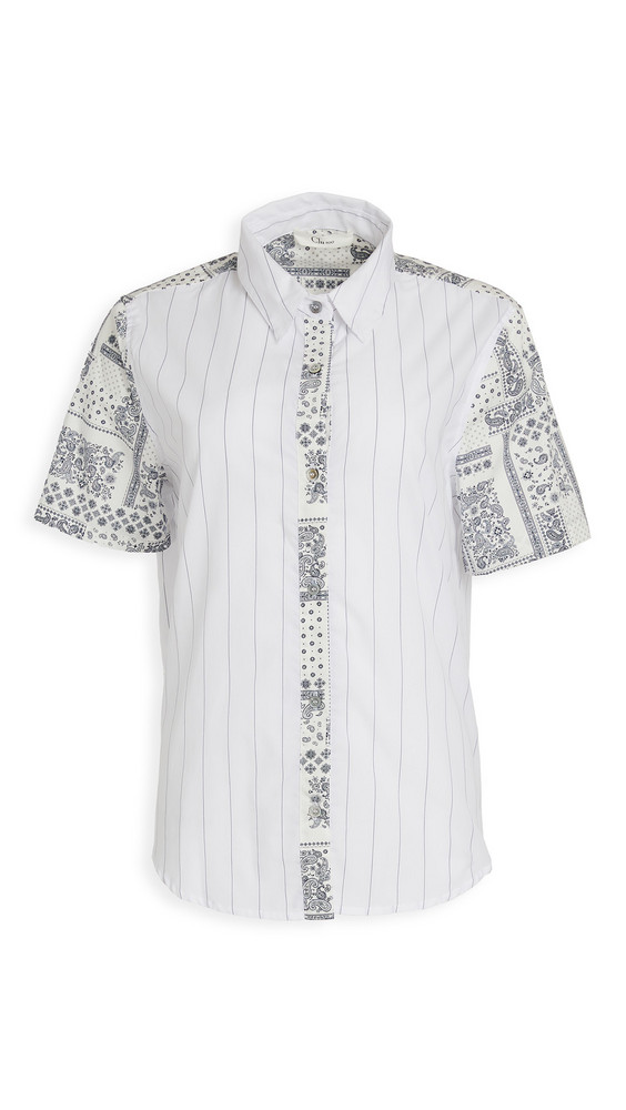 Clu Mix-Media Button Up Blouse in blue / white