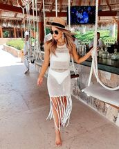 dress,white dress,mini dress,beach dress,white swimwear,hat