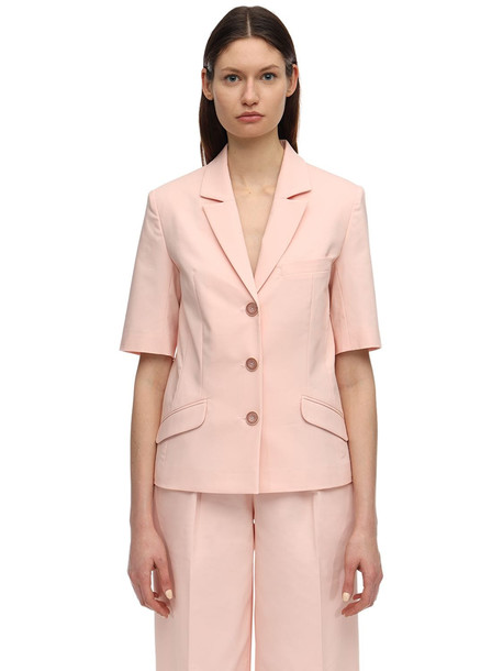 LESYANEBO Cotton Blend Short Sleeve Jacket in pink