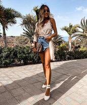 shorts,denim shorts,platform shoes,wrap top,bag