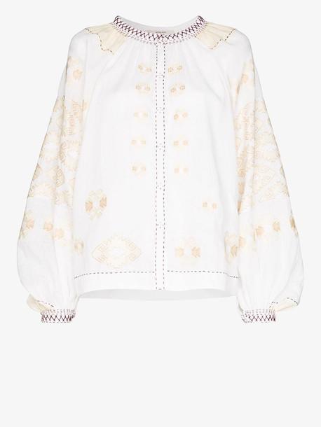 Vita Kin bodrum embroidered linen top in white