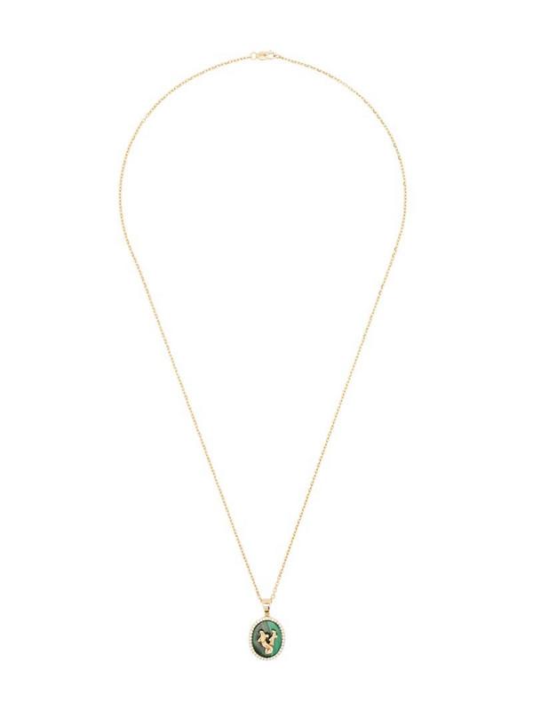 O Thongthai Gemini 14kt yellow gold malachite and diamond necklace