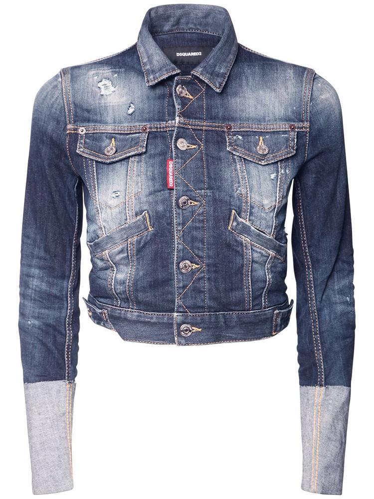DSQUARED2 Hi Cuff Stretch Cotton Denim Jacket