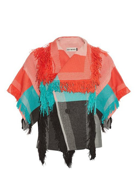 Issey Miyake Men - Parrot Fringed Checked Jacket - Womens - Red Multi