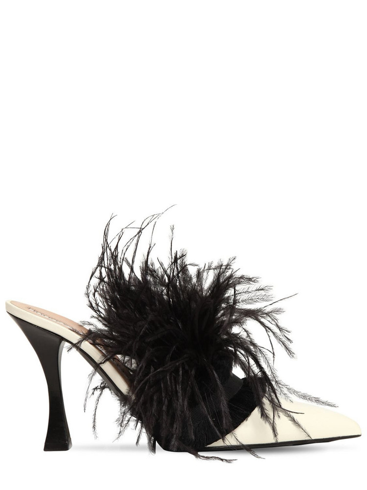TABITHA SIMMONS FOR BROCK COLLECTION 100mm Leather & Feather Mules in black / white