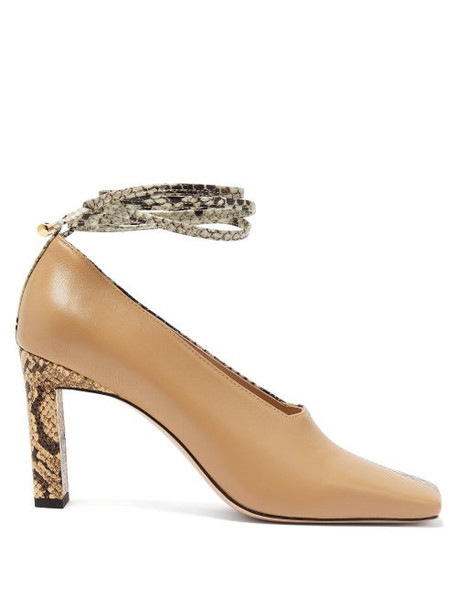 Wandler - Isa Two-tone Square-toe Leather Pumps - Womens - Beige Multi