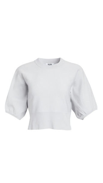 525 Balloon Sleeve Crew Neck Sweater in silver