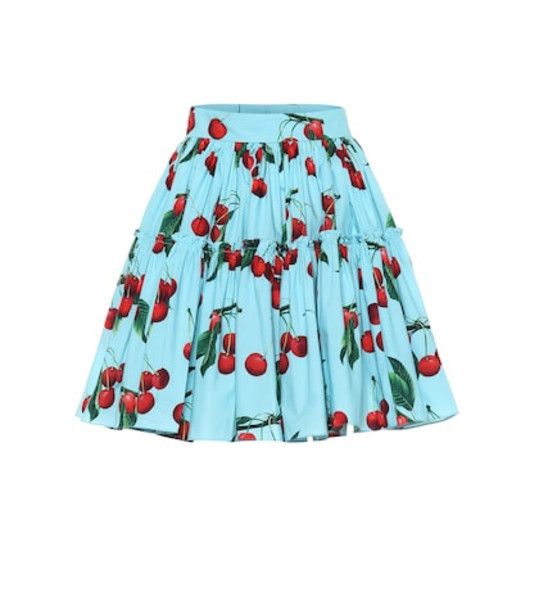 Dolce & Gabbana Exclusive to Mytheresa – cherry printed cotton miniskirt in blue