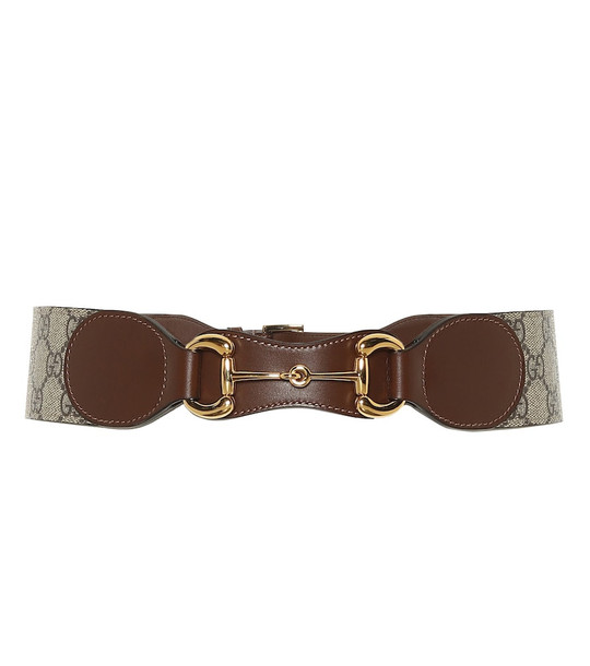 Gucci Horsebit leather and canvas belt in brown