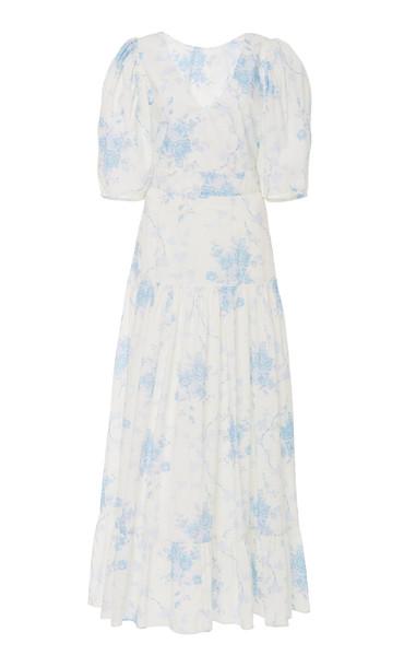 LoveShackFancy Lenny Floral-Print Ruffled Cotton Dress Size: 4