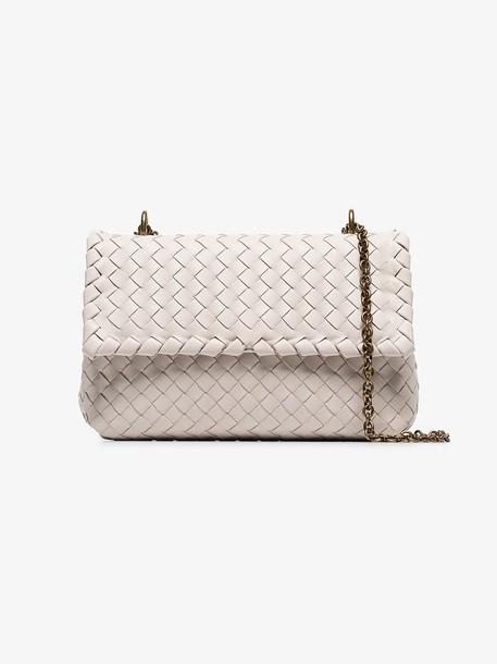 Bottega Veneta beige olimpia intrecciato mini leather shoulder bag