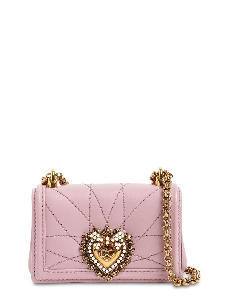DOLCE & GABBANA Micro Devotion Leather Shoulder Bag in pink