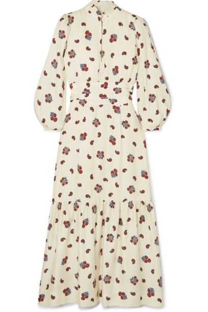 Rebecca de Ravenel - Bailey Printed Silk And Wool-blend Twill Midi Dress - White