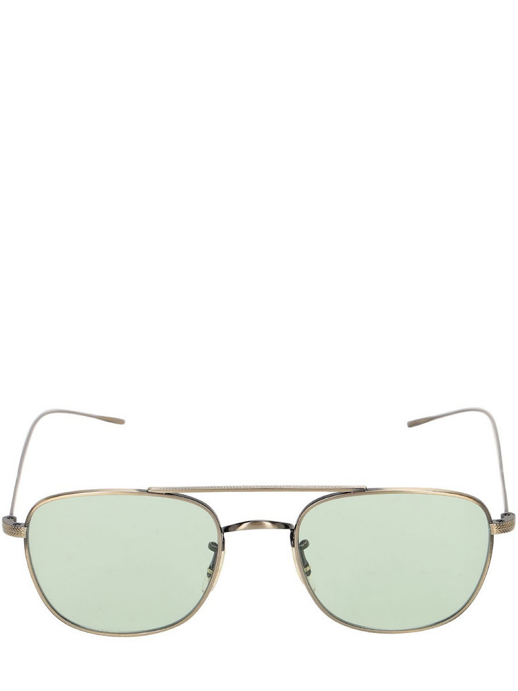 OLIVER PEOPLES Kress Rectangular Metal Sunglasses in gold / green