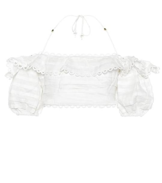 Zimmermann Allia off-the-shoulder linen top in white